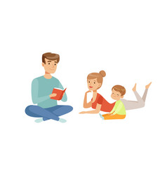 Family reading a book together happy family and vector