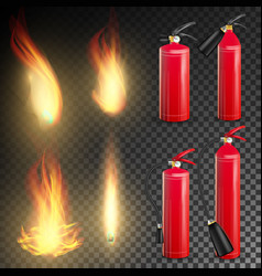 Fire extinguisher sign 3d realistic fire vector