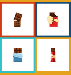 flat icon sweet set of wrapper sweet shaped box vector image