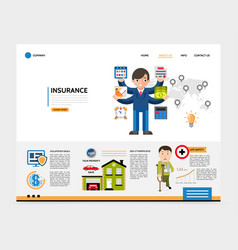 flat insurance service website template vector image