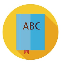 Flat reading book with bookmark circle icon vector