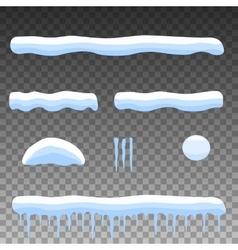 Flat set cartoon snow snowdrift icicles vector