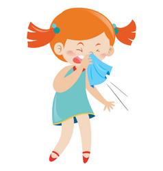 Girl in blue dress sneezing vector