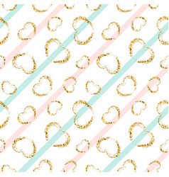 Gold heart seamless pattern white-blue-pink vector