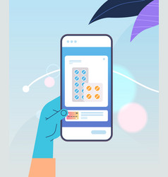 hand ordering pills in medical mobile app on vector image