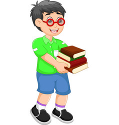 Handsome children cartoon walking with bring books vector