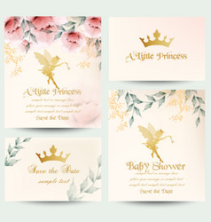 happy birthday little princess cards set vector image