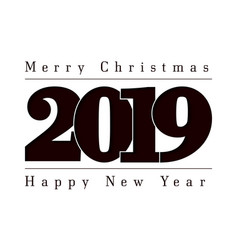 happy new year and merry christmas card black vector image