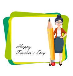 Happy techer day cute female teacher vector
