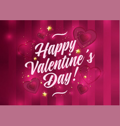 happy valentines day card romantic red background vector image