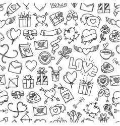 happy valentines day doodle style seamless vector image