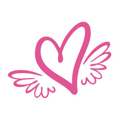 heart with wings flat style vector image