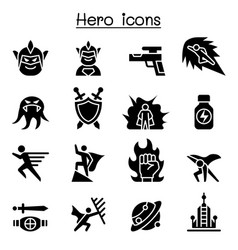Hero icon set vector