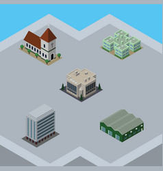 Isometric urban set of warehouse office company vector