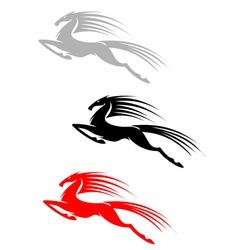Jumping mustang symbol vector