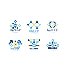 learning machine logo design collection vector image
