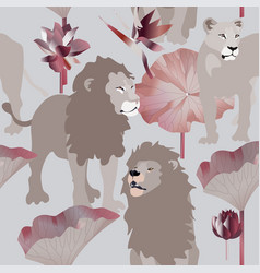 lions and lioness on blue background seamless vector image