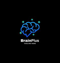 Logo brain plus gradient colorful style vector