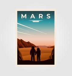 Mars fantastic poster background astronaut vector