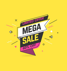mega sale limited special offer banner template vector image