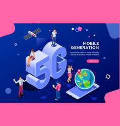 Mobile generation isometric banner vector