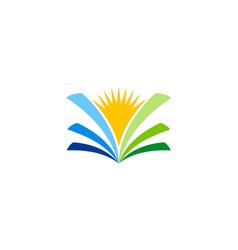 Open book sunshine knowledge logo vector