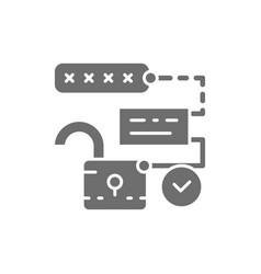 Open lock with pin code password and unlock vector