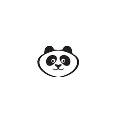 panda logo black and white head vector image