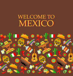pattern with traditional mexican attributes vector image