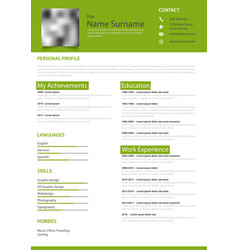 Professional personal resume cv in white green vector