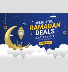 Ramadan sale banner template design background vector