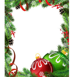 Red and green Christmas tree decorations with red vector