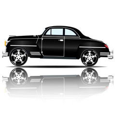Retro car black color white background imag vector