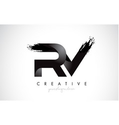 Rv letter design with brush stroke and modern 3d vector