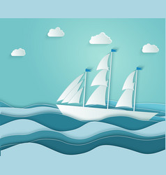 sailboat floats on rough ocean with waves vector image