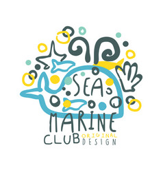 sea marine club original logo design summer vector image