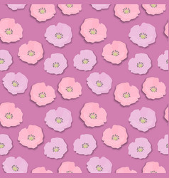 seamless flower pattern with pink and lilac wild vector image