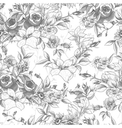Seamless monochrome floral background with roses vector