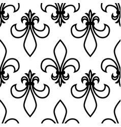 seamless pattern fleur de lis linear graphics vector image