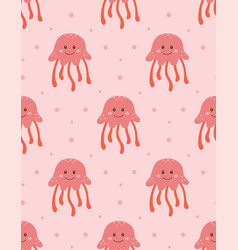 seamless pattern with cute jellyfish vector image