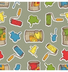Seamless Pattern with Multicolored Roller vector image