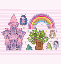 set fantastic creatures with rainbow and castle vector image