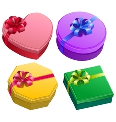 Set gift box with ribbon and bow vector