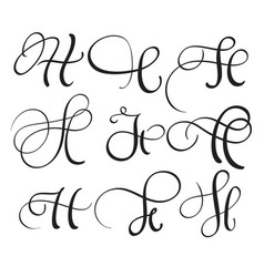 Set of art calligraphy letter h with flourish of vector