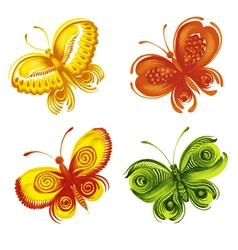 Set of decorative ornament butterflies vector