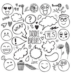Set of hand drawn doodle bubbles faces vector