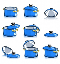 Set pans with lid vector