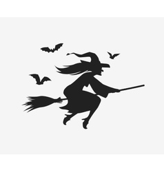 Silhouette witch flying on broomstick Halloween vector
