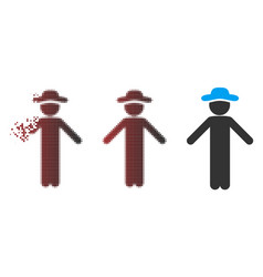 Sparkle pixel halftone gentleman apology icon vector