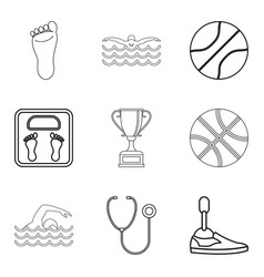 sport doctor icons set outline style vector image